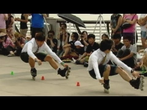 World's best roller skaters compete in slalom in Shanghai