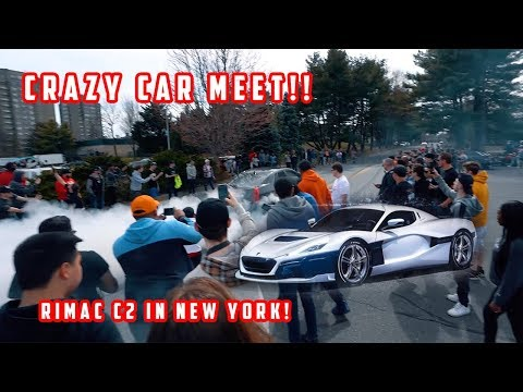 CRAZY CAR MEET BURNOUTS *RIMAC C2 IS IN NEW YORK CITY!*