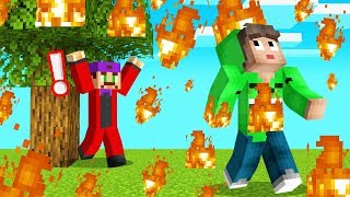 MINECRAFT But FIRE RAINS From The SKY! (RUN!)