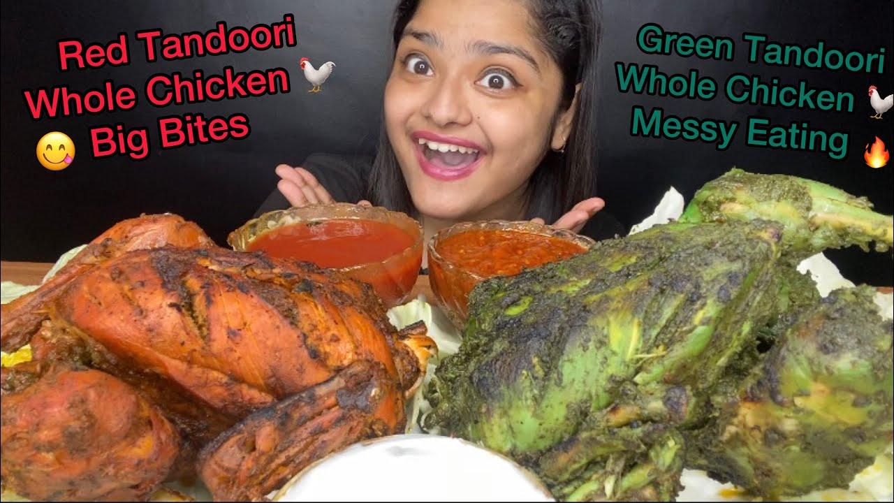 2 TANDOORI WHOLE CHICKEN EATING🔥 GREEN WHOLE CHICKEN AND RED WHOLE CHICKEN   BIG BITES  EATING SHOW