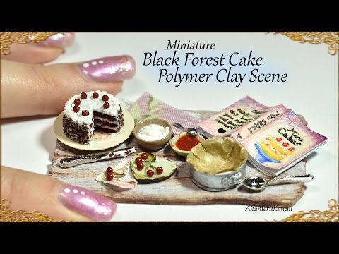 Miniature Black Forest Cake; Baking Scene - Polymer Clay Tutorial