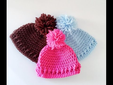 simple and Easy Crochet Baby Hat/Beanie - YouTube