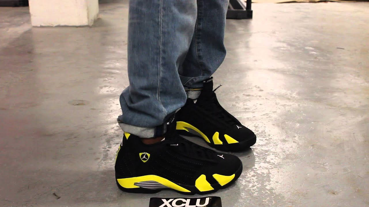 pretty nice f99b8 e8693 netherlands air jordan 14 retro thunder on feet video exclucity youtube  90348 d357e