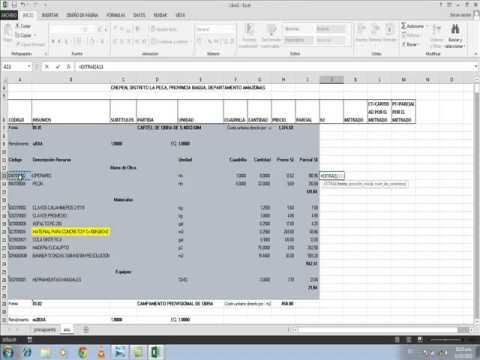 Costos y presupuestos para obras con excel parte 1 youtube for Presupuesto para hacer una alberca