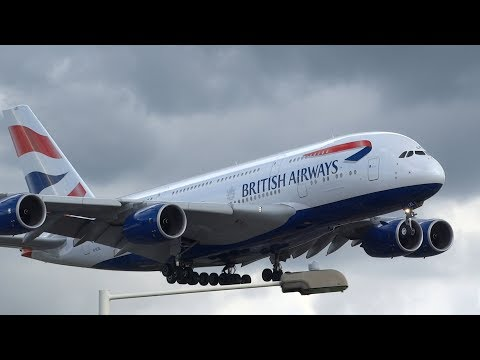 BIG Planes Landing At London Heathrow A380, A340, B747, B787, B777, A330