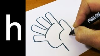 "How to Draw Doodle Using Letters ""h"" for kids ! Cute & Easy doodle drawing cartoon"