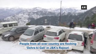 Tourists enjoy snowfall at famous 'Dehra Ki Gali' in J&K's Rajouri