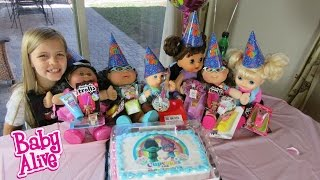 BABY ALIVE Cabbage Patch Doll Cousin Birthday Party! Troll Cake+Poppy+Branch+ Toys! Part 2 of 2