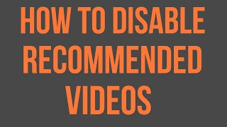 How to Remove/ Disable recommended channels from YouTube