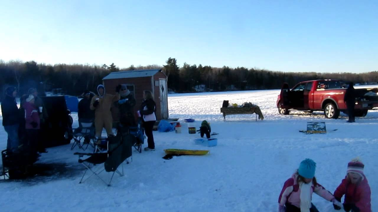 Ice fishing 2012 wheeler lake lakewood wisconsin youtube for Wisconsin out of state fishing license