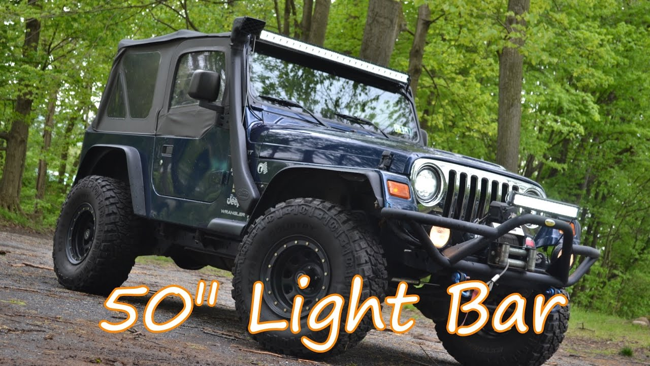 hight resolution of project tj wrangler ep 38 auxbeam 50 inch tri row light bar install