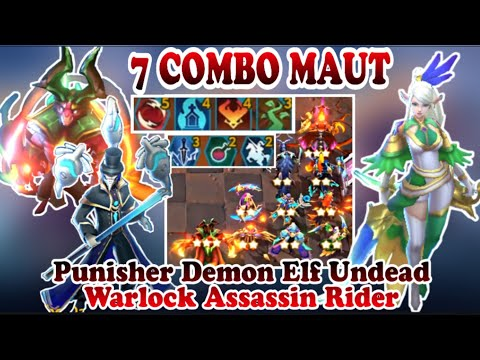 7 COMBO MAUT !! Punisher Demon Elf Undead Rider Warlock Assassin - Chess Rush Indonesia