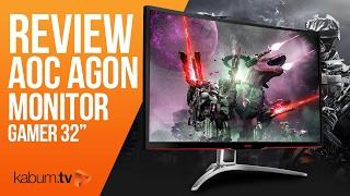 unboxing e review do monitor gamer aoc agon 32 tela curva 144hz e full hd   kabum