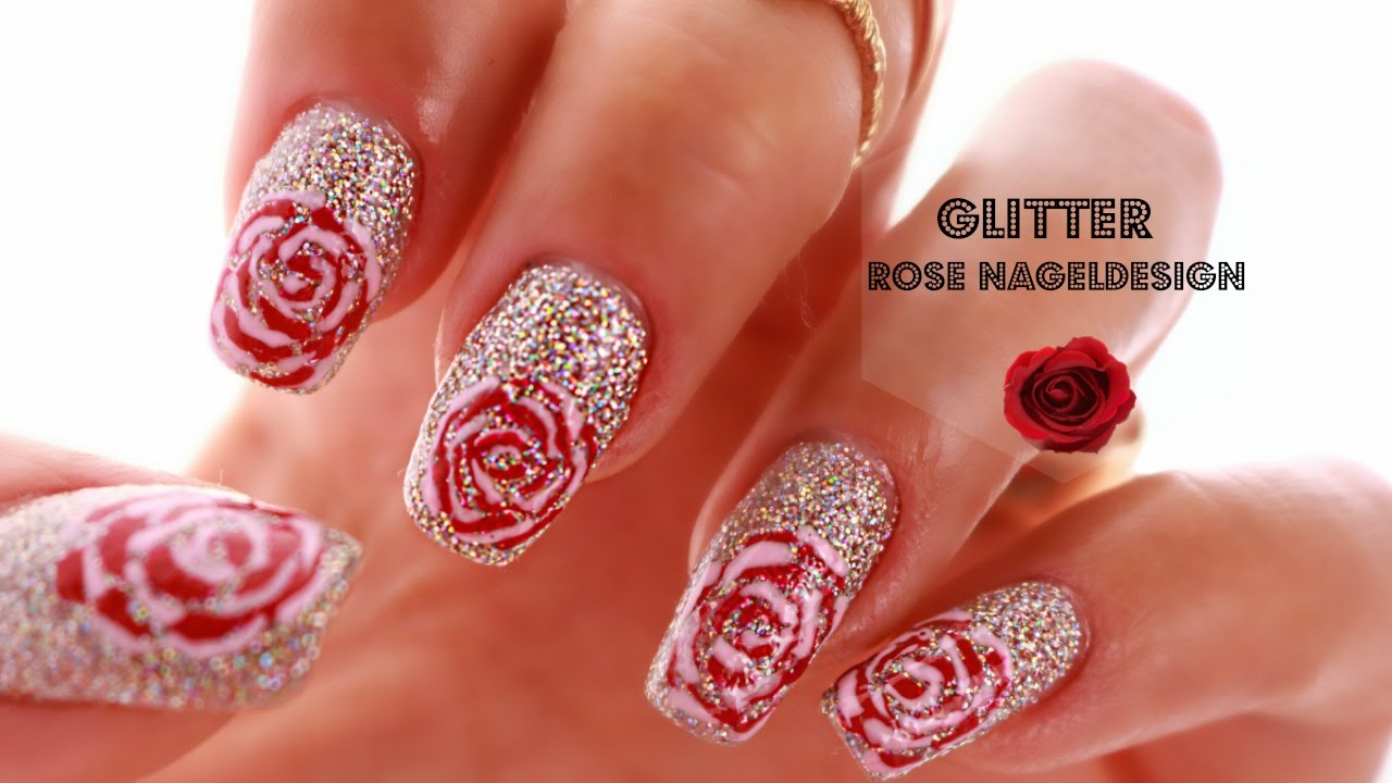 Einfaches Rosen Nageldesign Fur Anfanger Easy Rose Nail Art Design