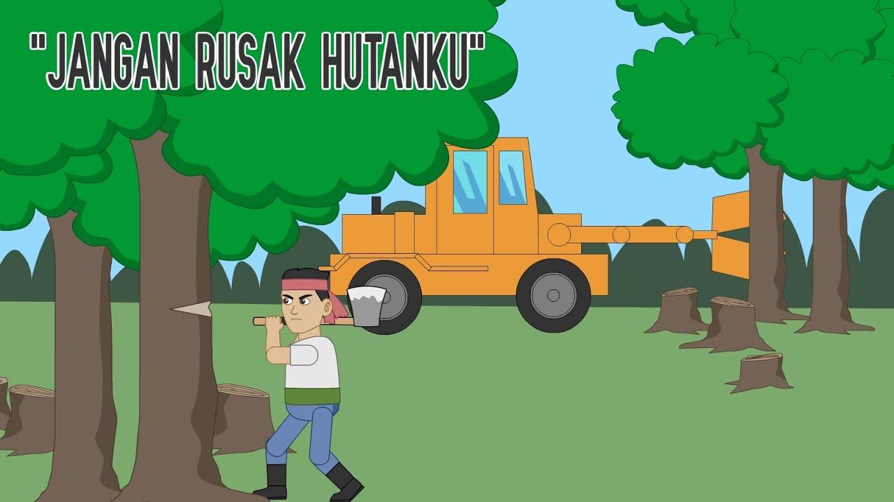 Gambar Animasi Penebangan Hutan Secara Liar - Gambar Kartun