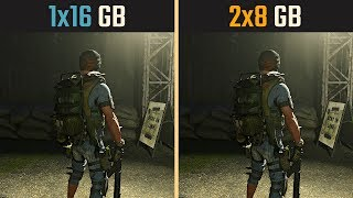 The Division 2 1x16GB vs. 2x8GB (Single channel vs. Dual channel)
