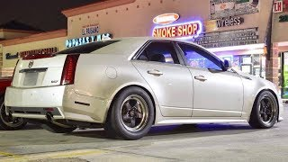 FAST nitrous CTS-V gaps cocky Turbo Z06! + Evo, Hellcat, 750hp G8 & M6 run on the STREET!