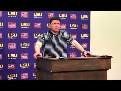 LSU coach Ed Orgeron addresses the media after Tigers' first spring practice