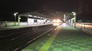 【4K】JR中央線   383系  特急ワイドビューしなの25号 長野行き 夜の鶴舞駅を高速通過!