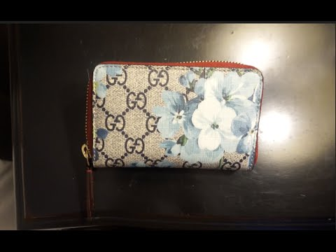 88f5032e079e Gucci Blue Blooms Card holder Review 2016- Wear and Tear for the Gucci Card  Case in Blue Blooms