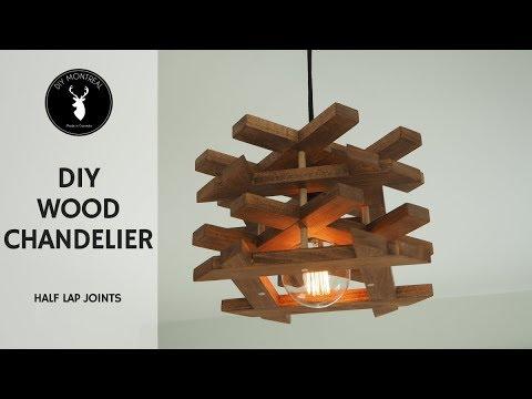 DIY Wood Chandelier | Half Lap Joints