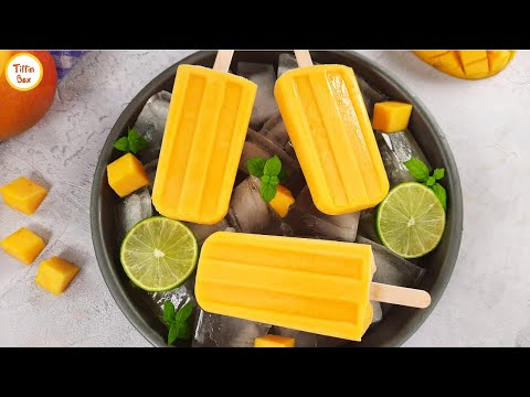 Mango Popsicle /Mango Ice cream (Eggless & without Cream) by Tiffin Box | Mango lolly ice recipe