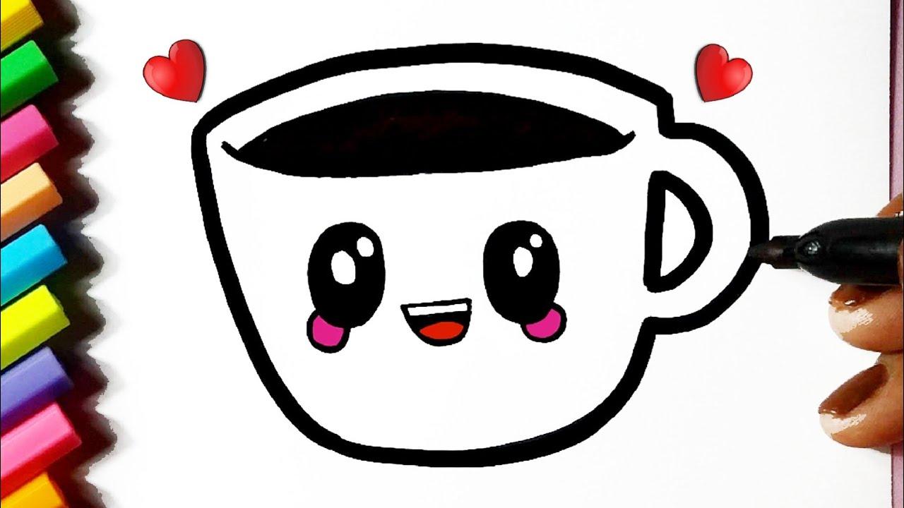 Como desenhar uma Xícara fofa Kawaii ❤ Desenhos Kawaii - Desenhos para Desenhar
