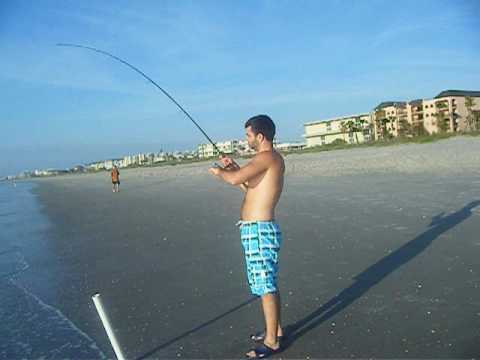 FISHING POMPANO & WHITING Cocoa Beach FL Florida Atlantic Ocean from Shore Beach Surf Fishing