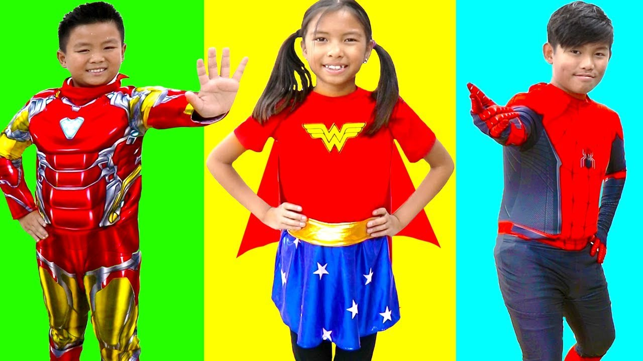 Wendy Pretend Play Dresses Like Superhero with Super Powers