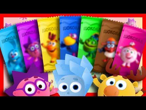Разноцветные ШОКОЛАДКИ - Учим цвета вместе с игрушками Щенячий Патруль и другими персонажами