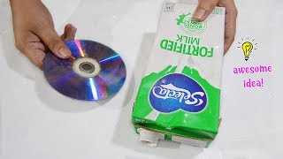 THE MOST EASY OLD CD AND MILK CARTON IDEA| HOW TO RECYCLE OLD CD| MILK CARTON BOX