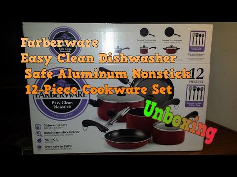 Farberware Easy Clean Dishwasher Safe Aluminum Nonstick 12-Piece Cookware Set Unboxing