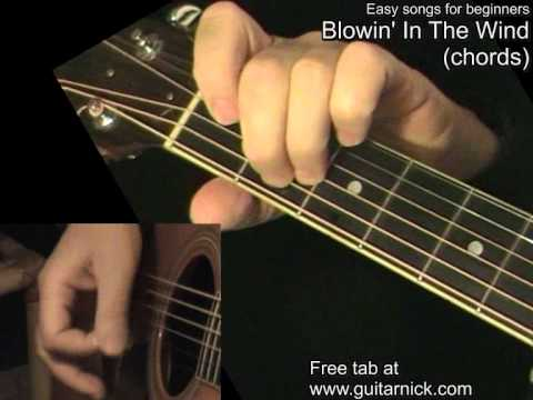 BLOWIN\' IN THE WIND (chords): Guitar Lesson + TAB by GuitarNick ...