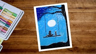 Moonlight Scenery Drawing With Oil Pastel | Girl and Cat On Swing Drawing For Beginners