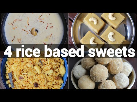 4 easy rice based sweets for festival | indian festival recipes | rice pudding, ladoo, bath & halwa