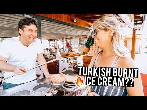 We Tried Turkish Burnt Ice Cream | Fethiye...