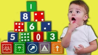 Tifany , Denisz  and the Baby stacked a huge cube pyramid Learn colors song Nursery Rhymes
