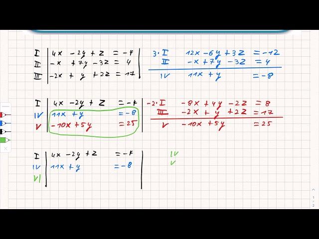Lineares Gleichungssystem mit drei Variablen lösen (Gaußalgorithmus)