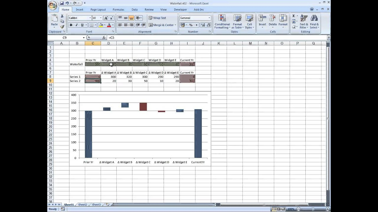 Waterfall chart in excel youtube waterfall chart in excel ccuart