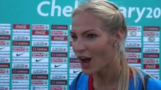 Darya Klishina  (RUS) after winning Long Jump