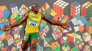 Usain Bolt Meets Rubik's Cube  - Río 2016 [WATCH OUT BOLT!] - World Record