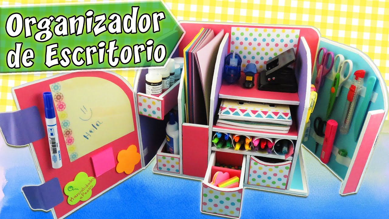 Organizador de escritorio de cart n youtube for Organizadores de plastico