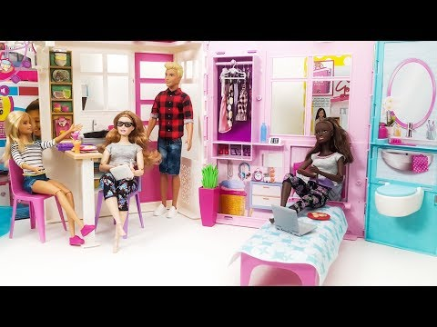 Barbie Dollhouse Fully Furnished Close & Go - Toy Kitchen Set - Furniture Accessories