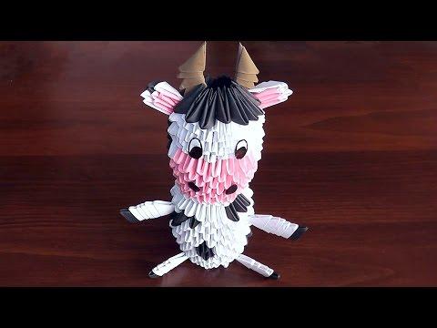 Модульное оригами Корова (бык,