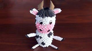 модульное оригами Корова (бык, бычок) схема сборки