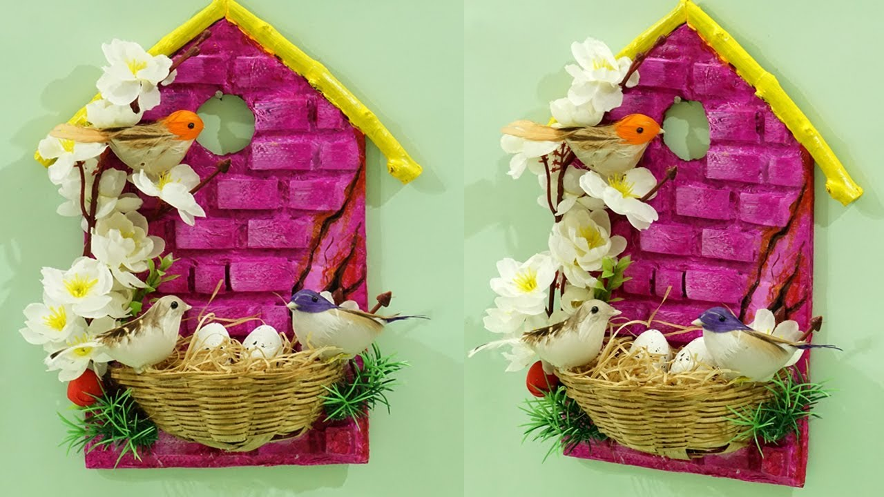 Beautiful Diy Home Decoration From Waste Materials Birdhouse Wall Hanging Recycling Crafts