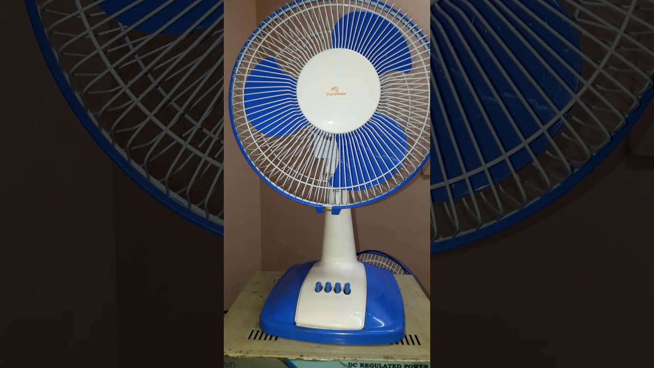 digital solar Delhi 12 volt BLDC table fan in Hindi