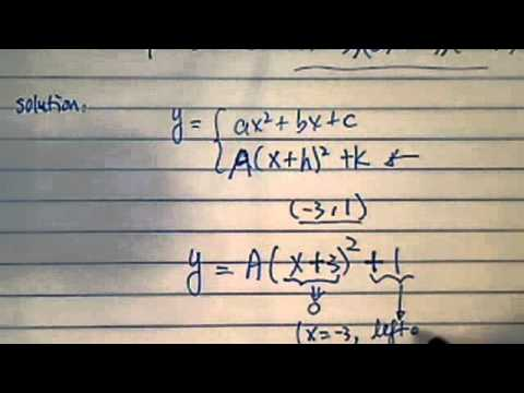 how to find equation of parabola given vertex point