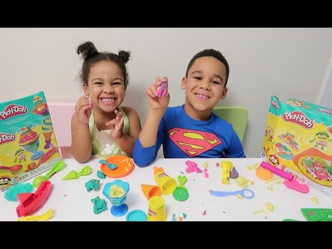 PRINCESS TIANA AND SUPERMAN MAKE PLAY-DOH ICE CREAM AND PIZZA