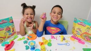 Princess Tiana And Superman Make Play-Doh Ice Cream And Pizza!